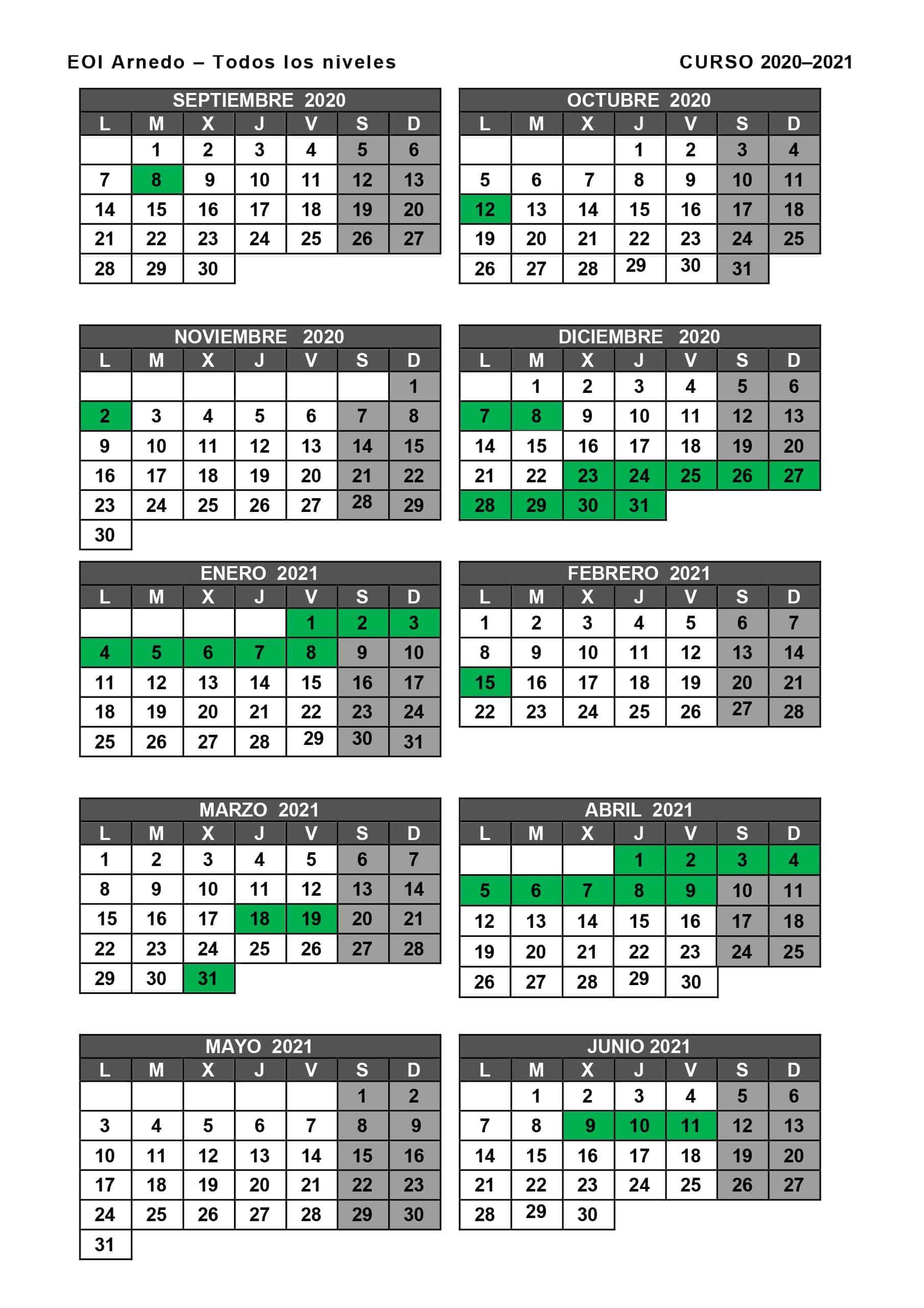 Calendario Arnedo 2020-2021