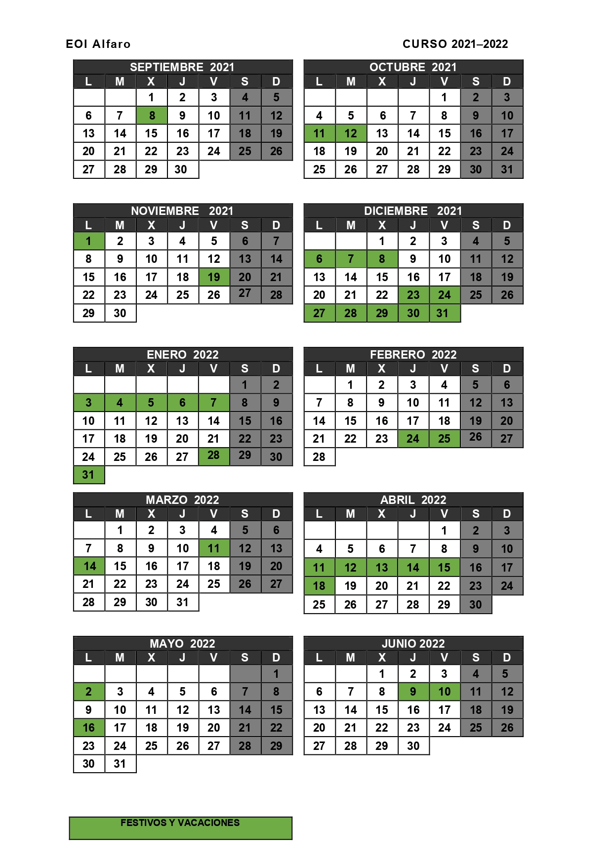 Calendario Alfaro 2020-2021